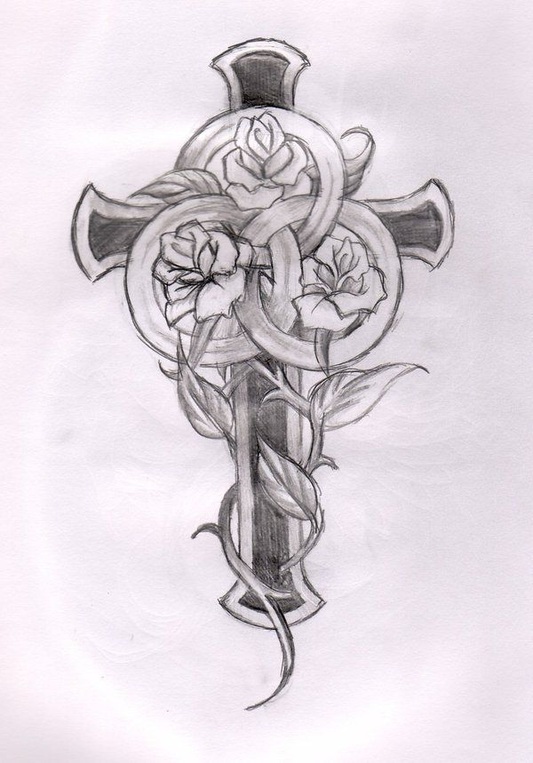 Cross and rose tattoo designs cross and roses cross for Celtic cross with roses tattoo designs