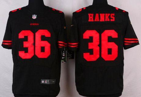 Discount San Francisco 49ers #36 Merton Hanks Black Retired Player NFL Nike  for sale