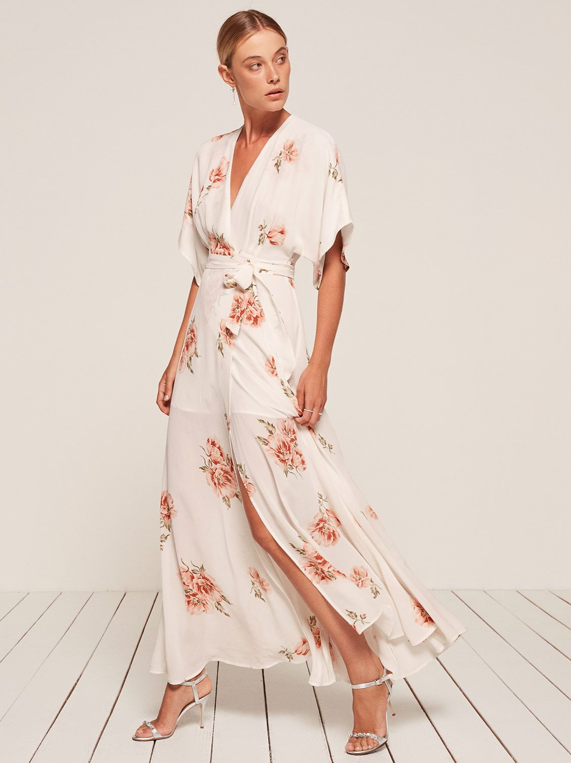 9016f281058b Beautiful white floral print kimono style dress responsibly made by  Reformation. Perfect for a spring or summer wardrobe. Being naked is the #1  most ...