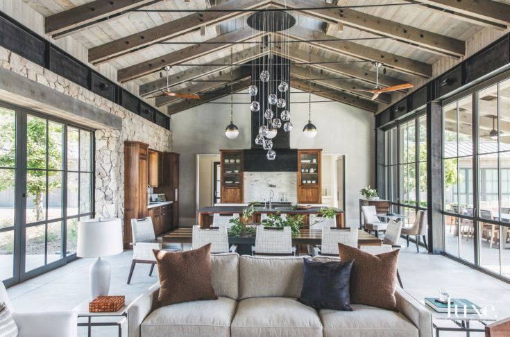 Vaulted Ceiling Open Space Living Room Dining Room And Kitchen With Chandelier And Glass Country House Decor Country Style Homes House Interior #open #living #room #and #dining #room