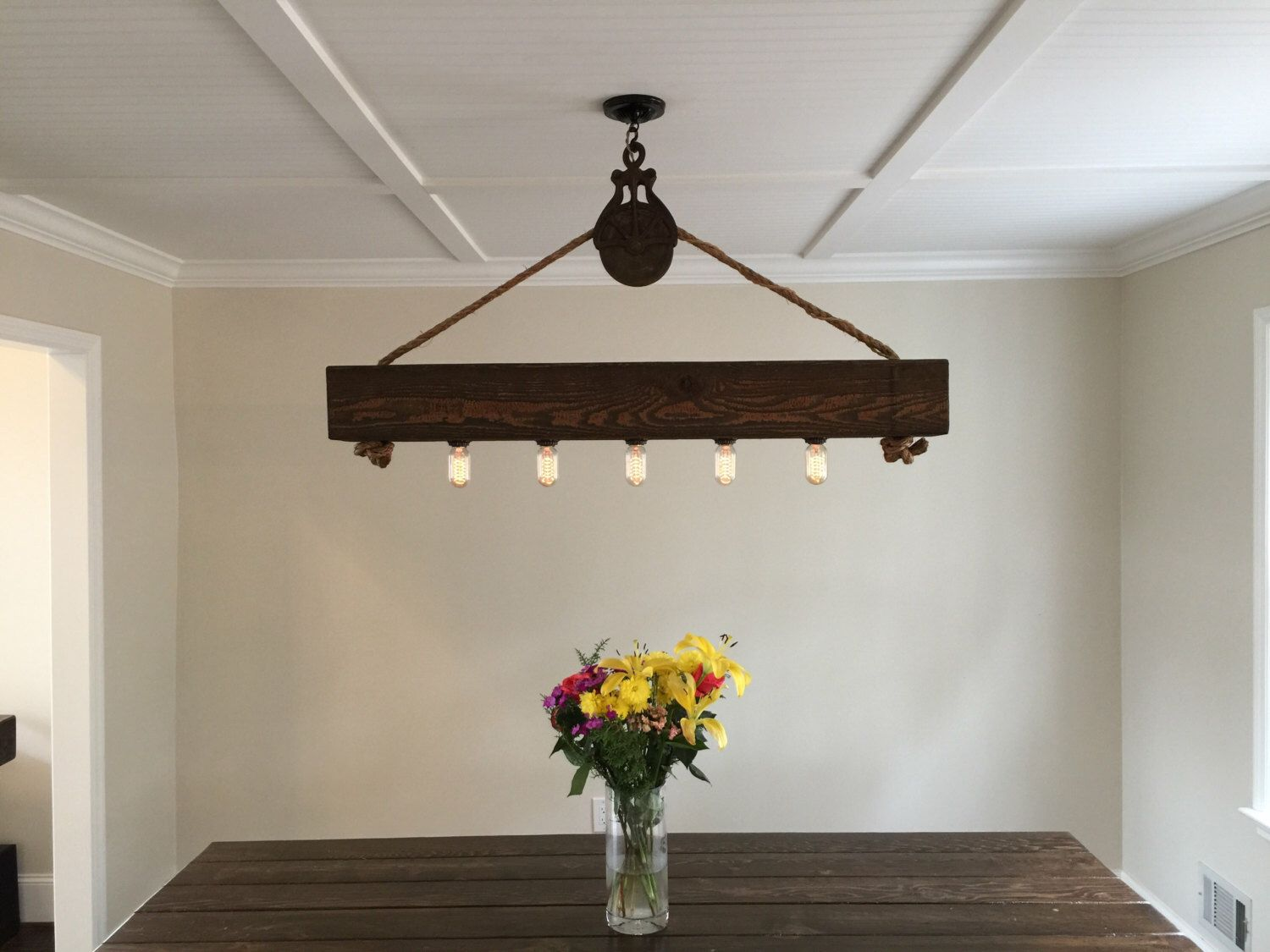 4 ft rustic beam edison bulb chandelier with vintage barn pulley by 4 ft rustic beam edison bulb chandelier with vintage barn pulley by handcraftedlighting on etsy https aloadofball Image collections