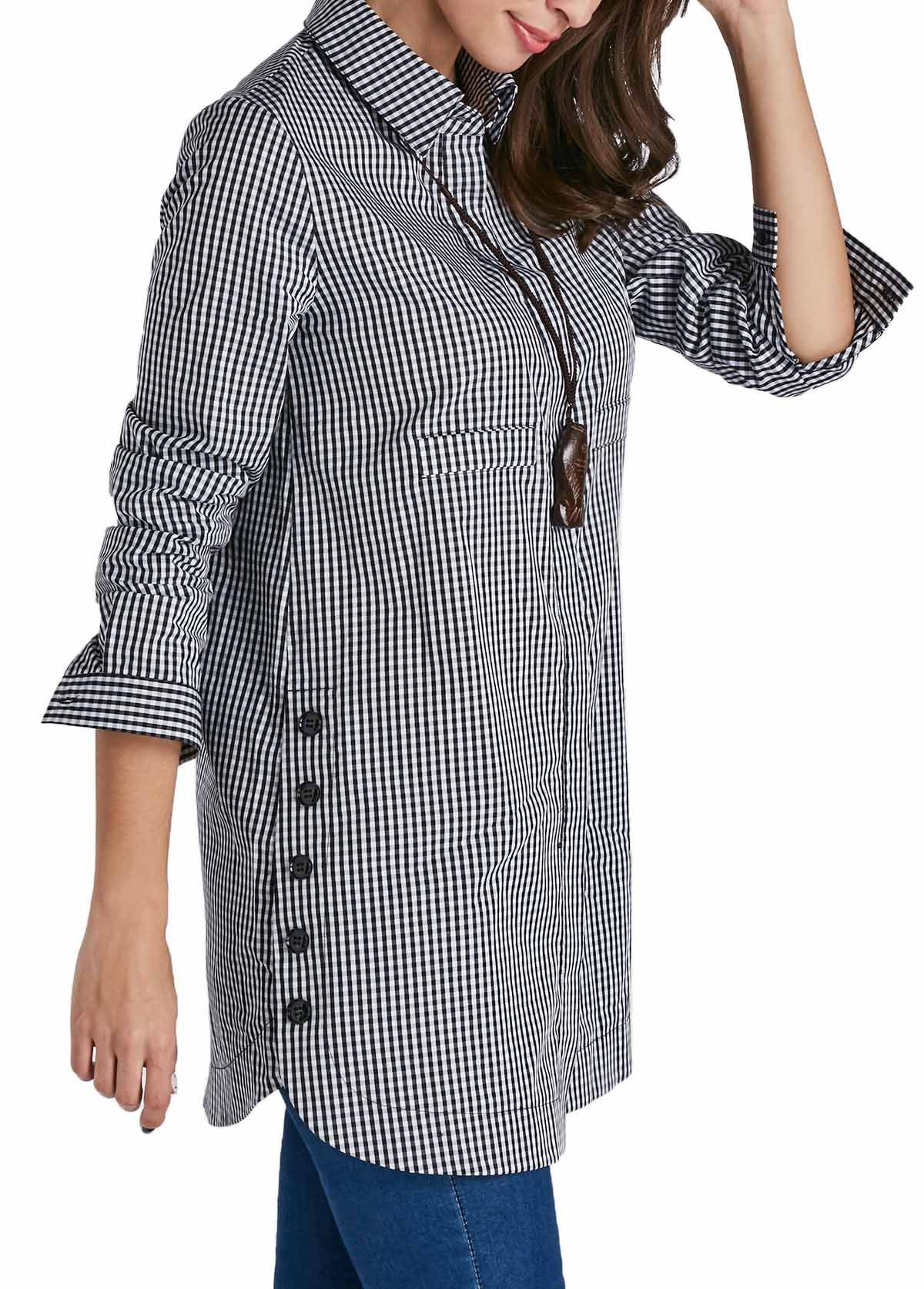4fd75760d13 Curved Turndown Collar Button Up Plaid Print Shirt on sale only US$29.69  now, buy cheap Curved Turndown Collar Button Up Plaid Print Shirt at  liligal.com