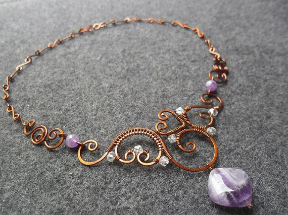 Amethyst Necklace,Copper Wire Necklace,Hammered Necklace,Copper necklace,Oxidize Necklace,Purple Jade Necklace,Jade Necklace,Purple Necklace