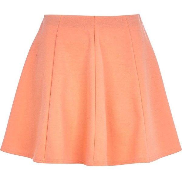river island light orange skater skirt 12 liked on