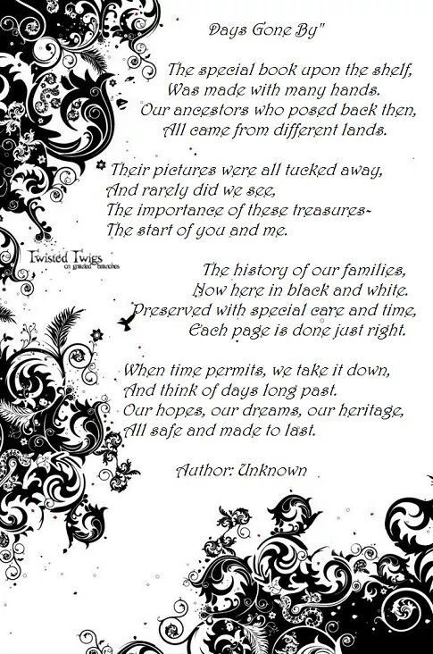 Cool poem for inside page of a family history scrapbook or photo album.