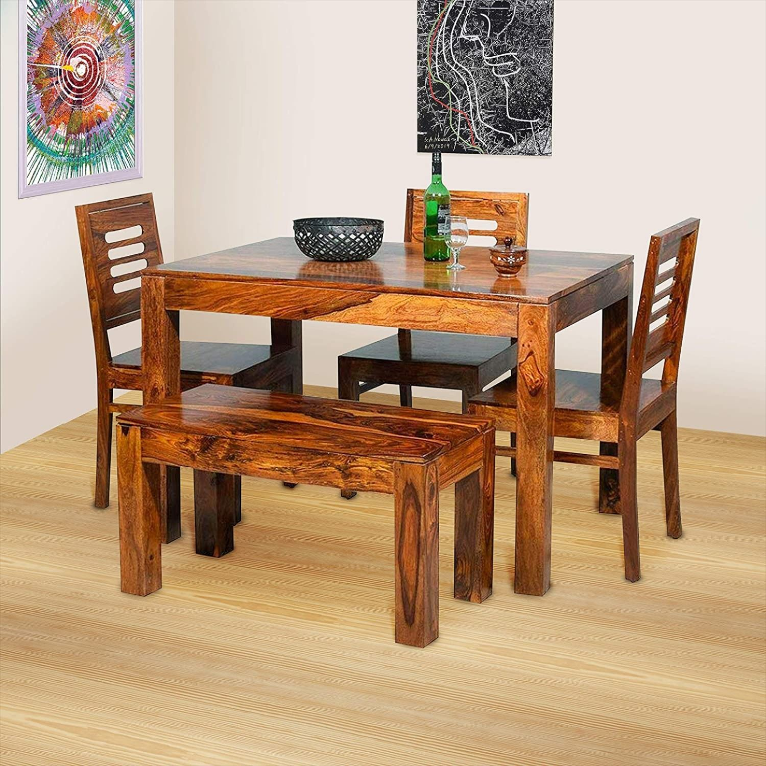 20++ 4 seater dining table with bench Best Seller