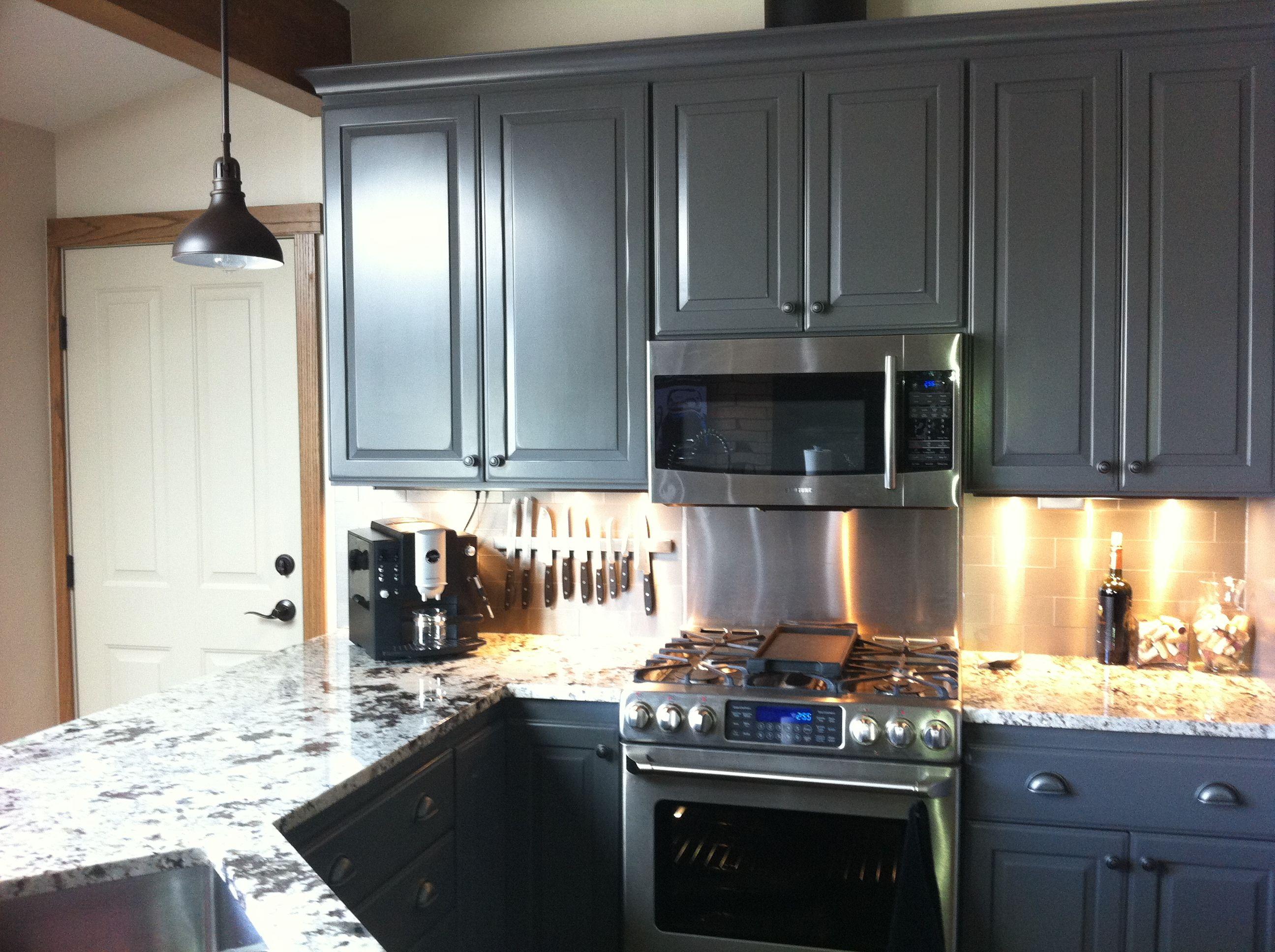 Stainless Steel Subway Tile Backsplash Grey Kitchen