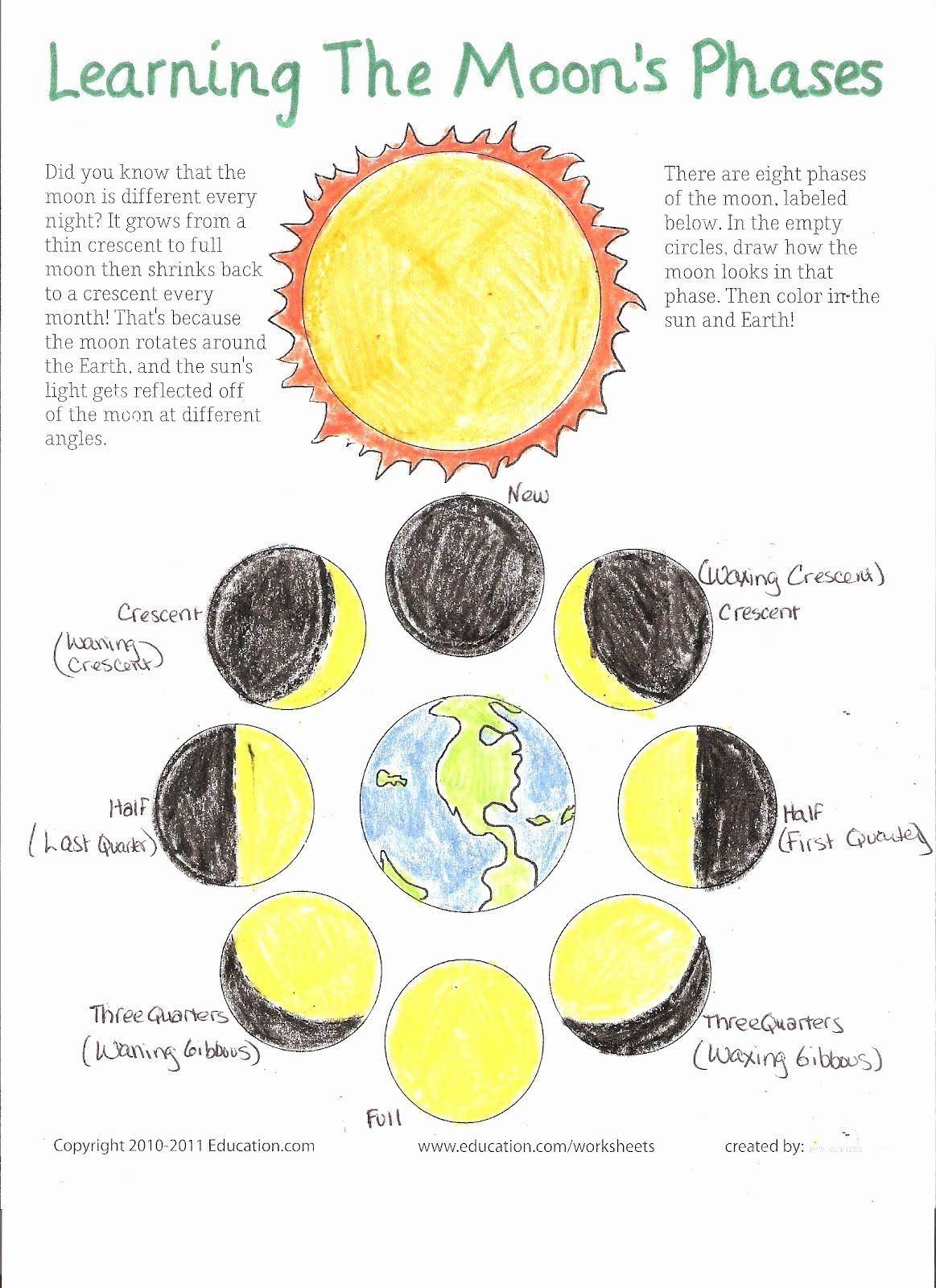 50 Moon Phases Worksheet In