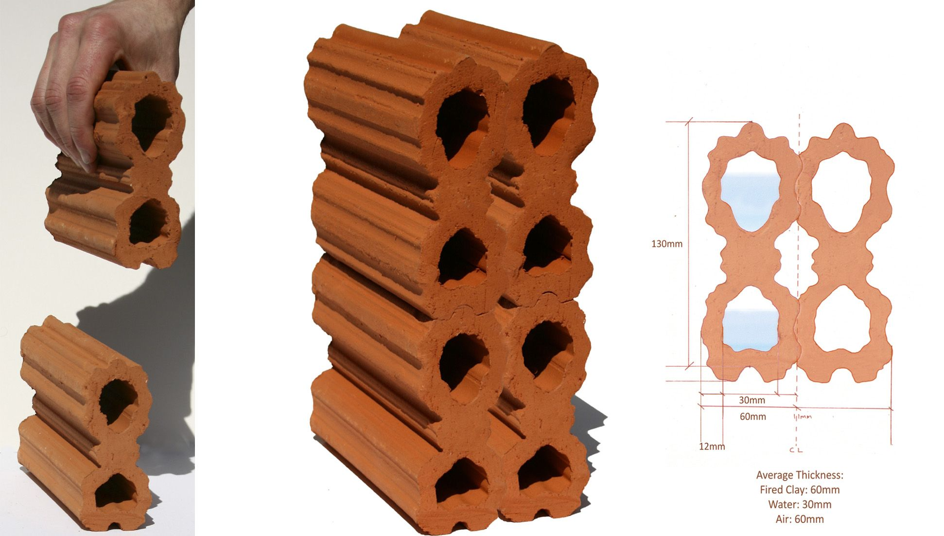 Prototype For An Interlocking Extruded Terracotta Wall With Water