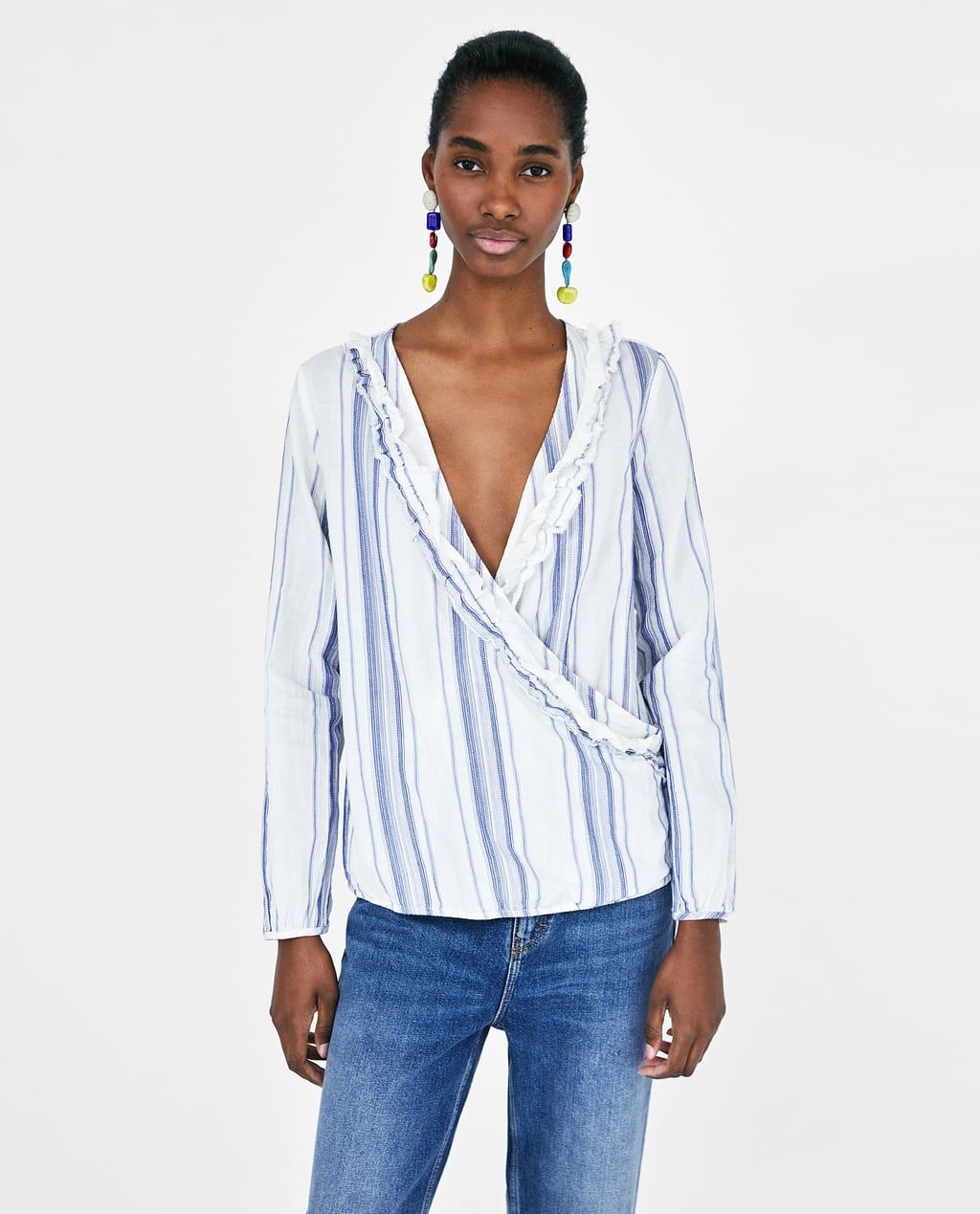 0f7927e8 STRIPED BLOUSE WITH RUFFLES from Zara | Striped | Style Inspiration ...
