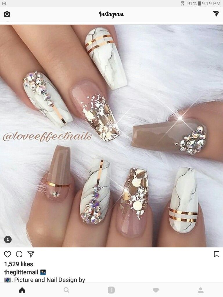 Find the perfect nail art design for your next manicure project a good mix of bling marble nail art ideas prinsesfo Images