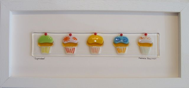 Fused glass picture, cupcakes - $141.91 : Blue Lias Gallery. I love this!