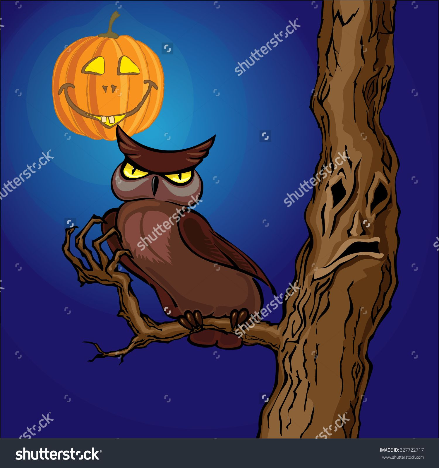 Scary Tree With Owl And Pumpkin Stock Vector Illustratie 327722717 : Shutterstock