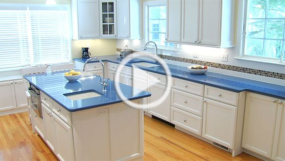 Blue Countertops With White Cabinets