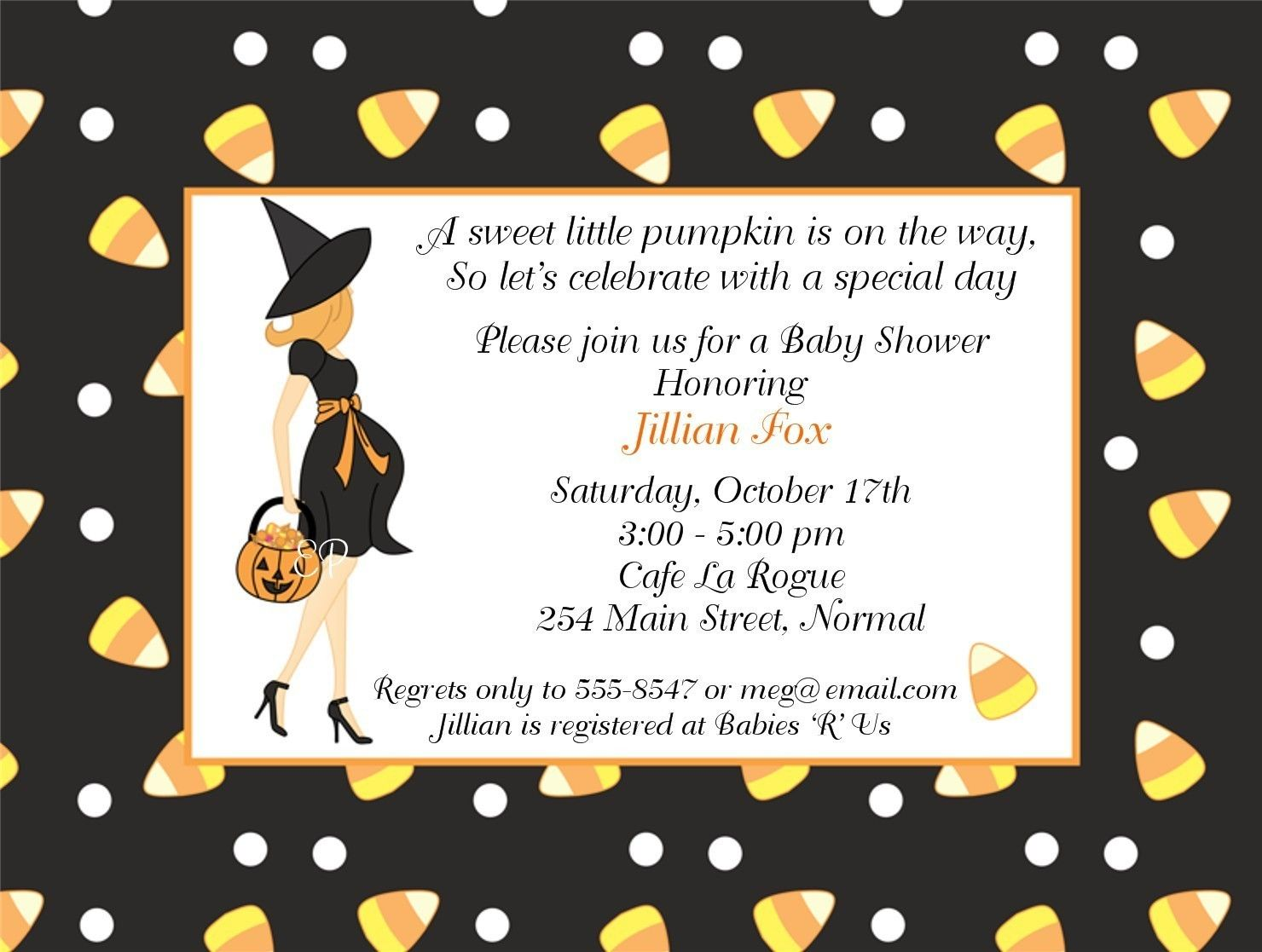 Halloween Baby Shower Package for Lisa | Baby shower halloween ...
