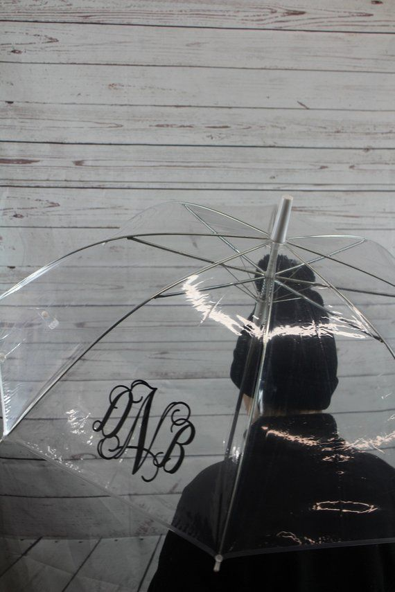 Lot of 4 Monogrammed Clear Umbrellas | See Through Bubble Umbrella | Clear Umbrella | Gift under 15 #clearumbrella