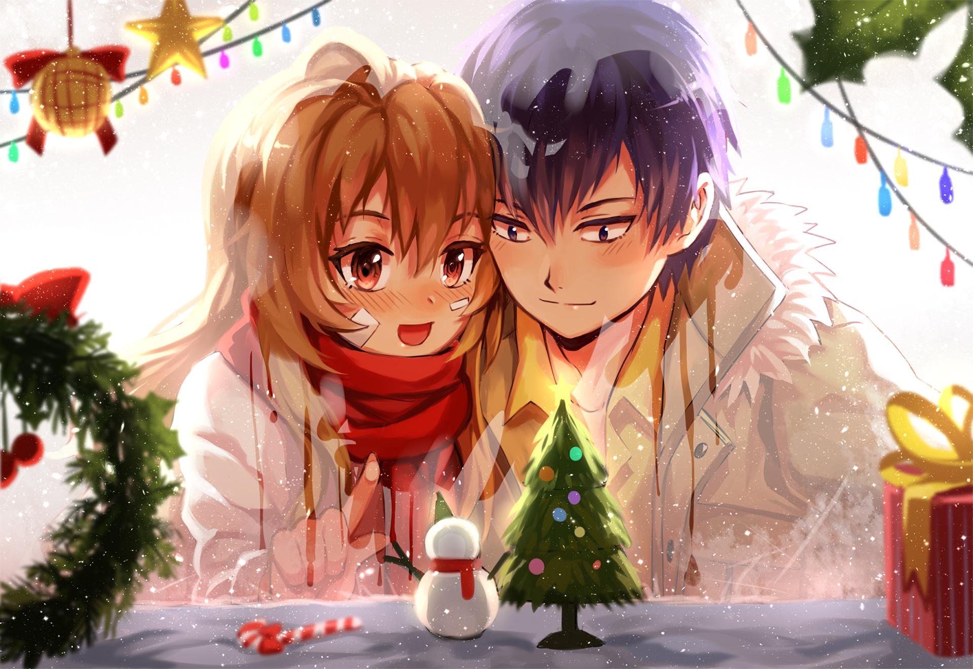 Toradora Taiga X Ryuji Christmas Romance Red Scarf Couple Anime Christmas Anime Toradora