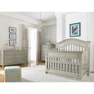 Dolce Babi Naples 3 Piece Nursery Set in Grey Satin - Crib, Dresser ...