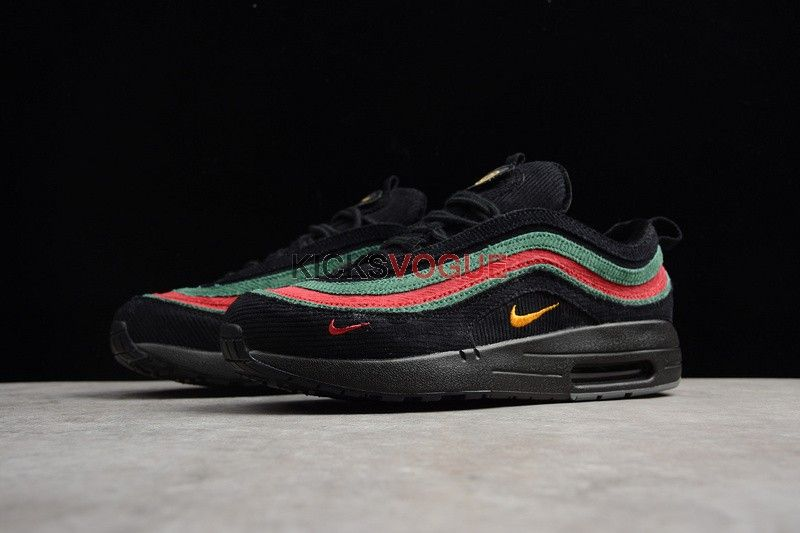 new styles 4b53d 945d3 Custom Gucci x Nike Air Max 1 97 Hybrid Black Red Green