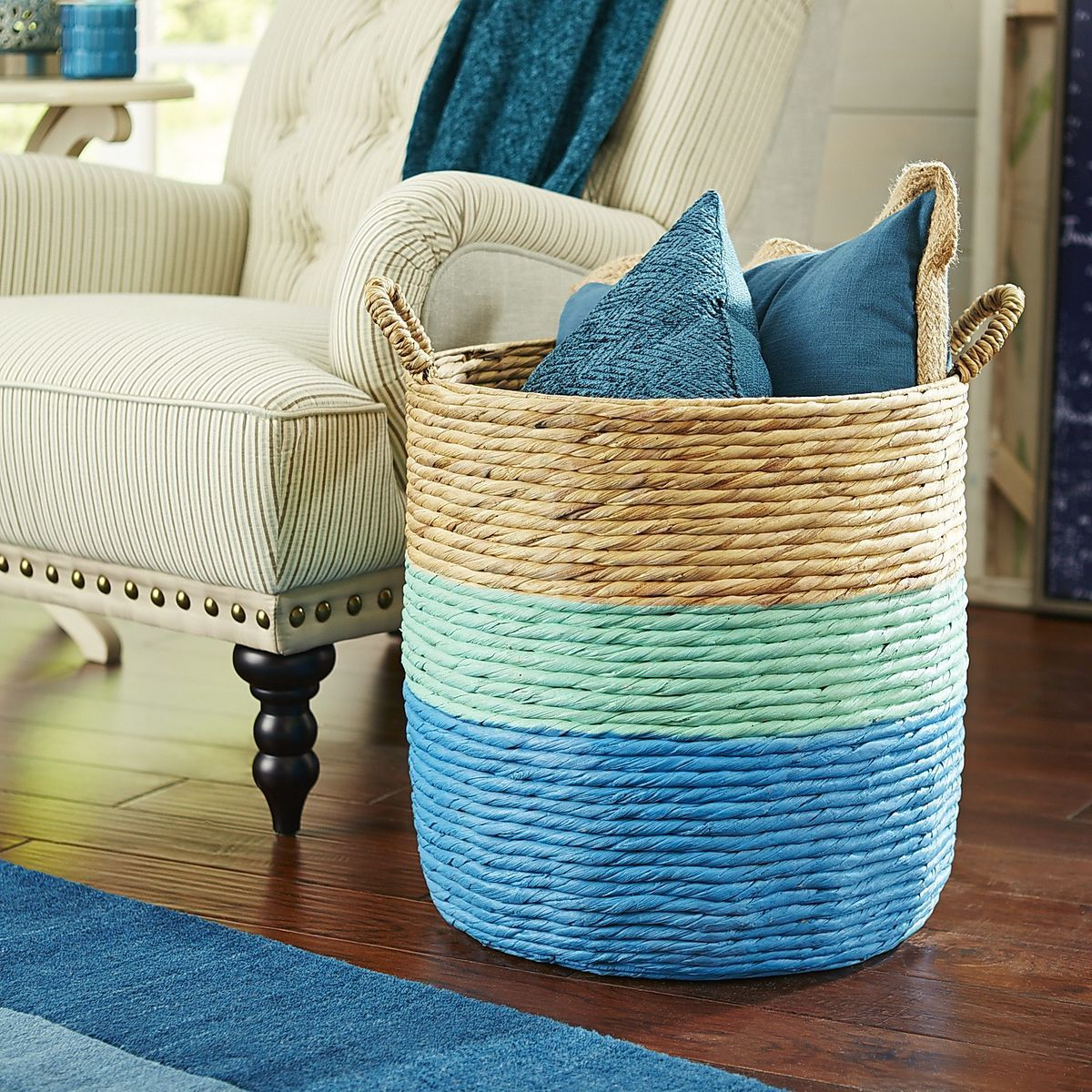 Blue And Mint Color Dipped Rattan Storage Basket   Could DIY This!