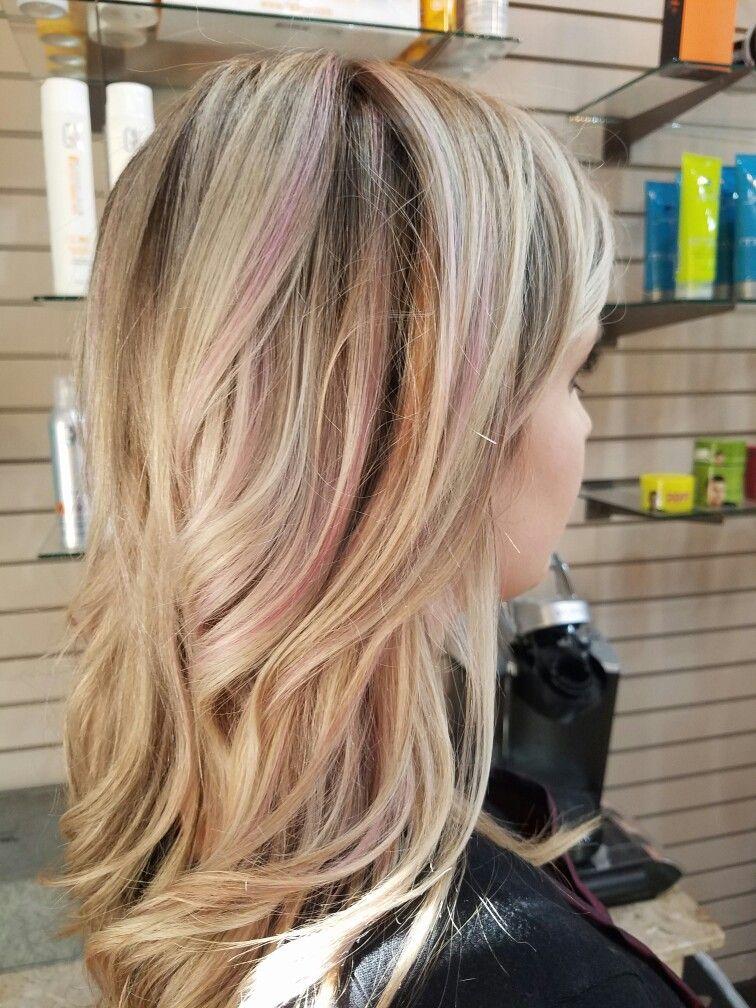 Subtle Pink Highlights Pink Blonde Hair Blonde Hair With Pink Highlights Pink Hair