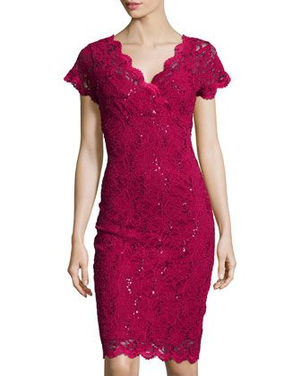 4ac2272199ed Scalloped-Trim Sequined Lace Dress, Cranberry by Marina at Neiman Marcus  Last Call.