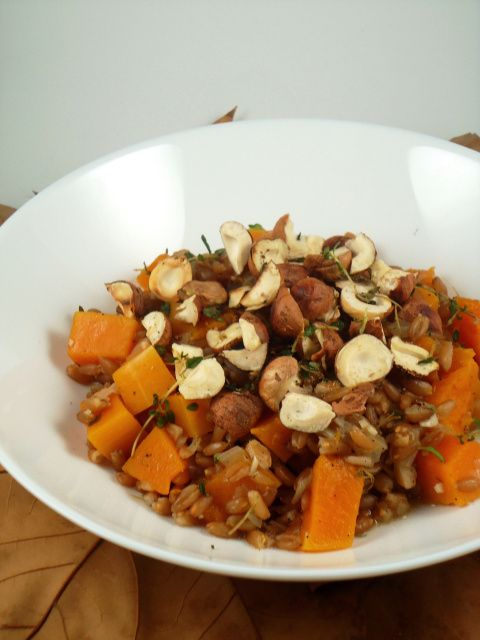 Farro with butternut squash and toasted hazelnuts - vegan
