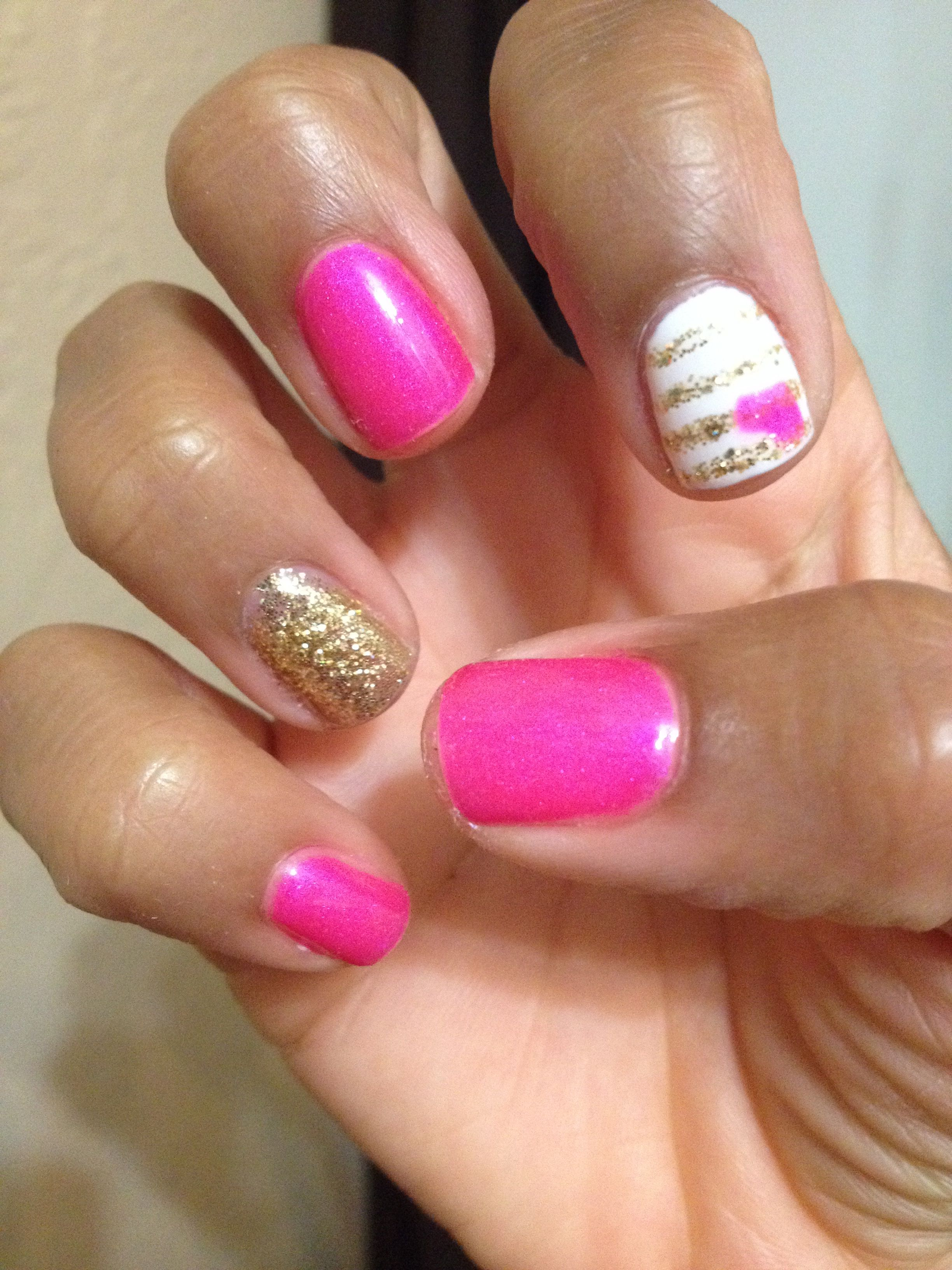 Diy pink gel nails with gold and white accents my nails diy pink gel nails with gold and white accents solutioingenieria Images
