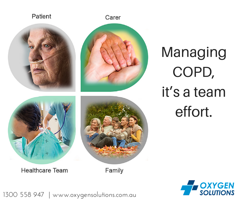 Effective management of COPD is based on a partnership between you, your carer and family, and your health care team.Make sure that your COPD support community is aware of your Oxygen Therapy needs. Have you checked out what Oxygen Solutions has to offer?http://www.oxygensolutions.com.au/