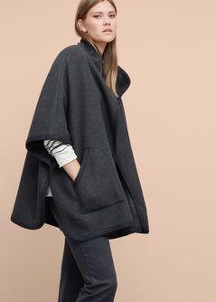 d489c8da645f Trimmed wool-blend cape - Plus sizes