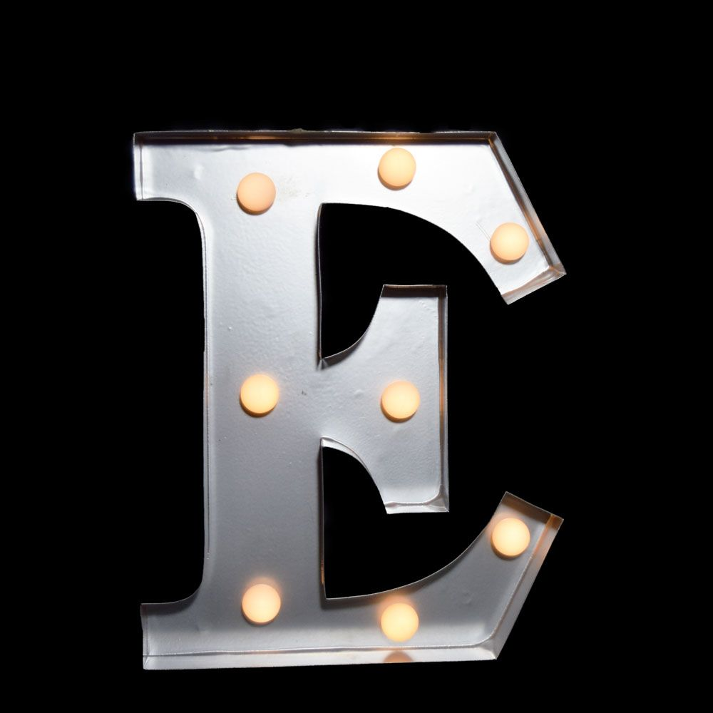 10 Inch Metal Letters White Marquee Light Letter 'e' Led Metal Sign 8 Inch Battery