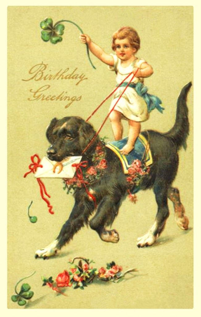 Girl Riding Dog With Letter