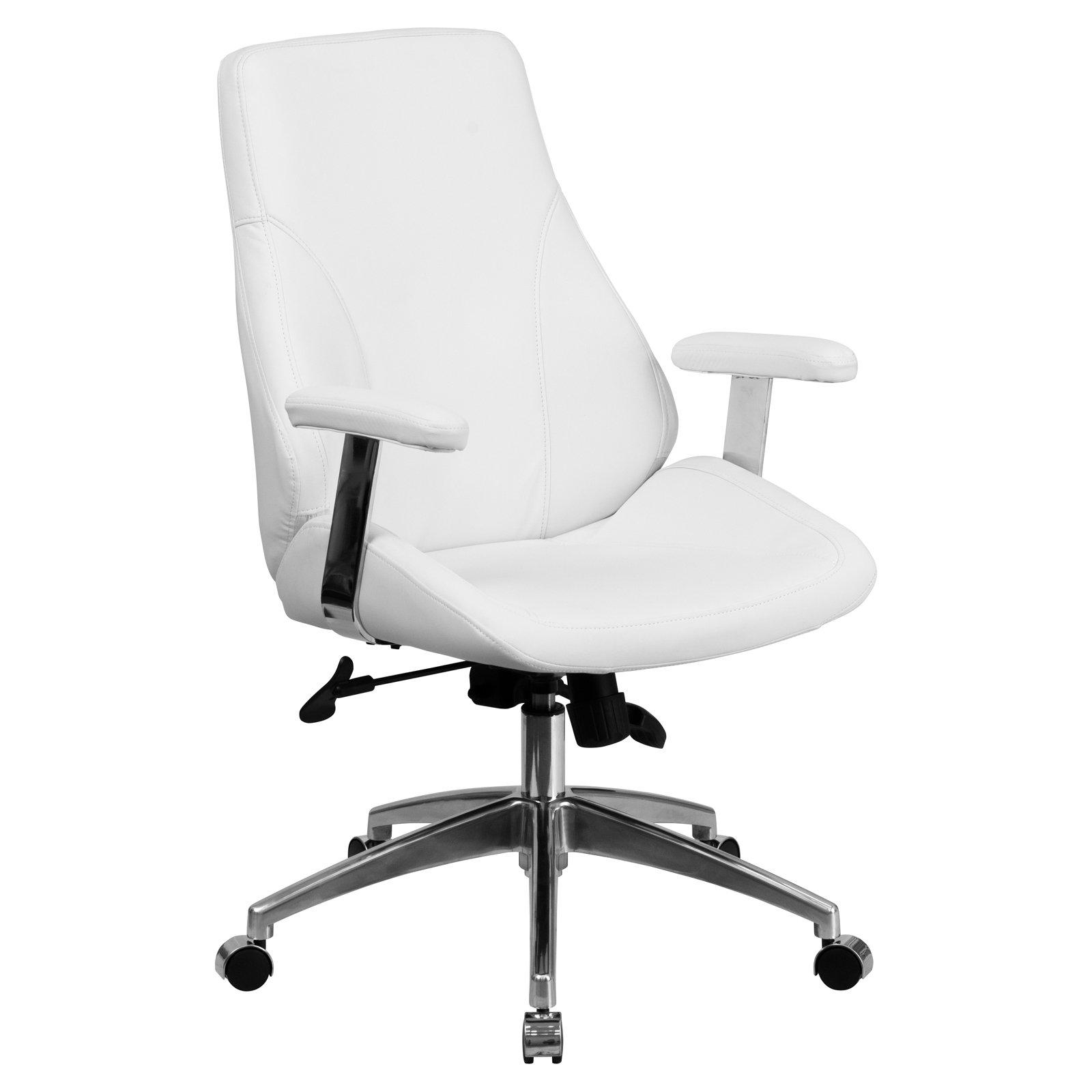 Flash Furniture Mid Back Leather Executive Swivel Office Chair White Swivel Office Chair Best Office Chair Contemporary Office Chairs