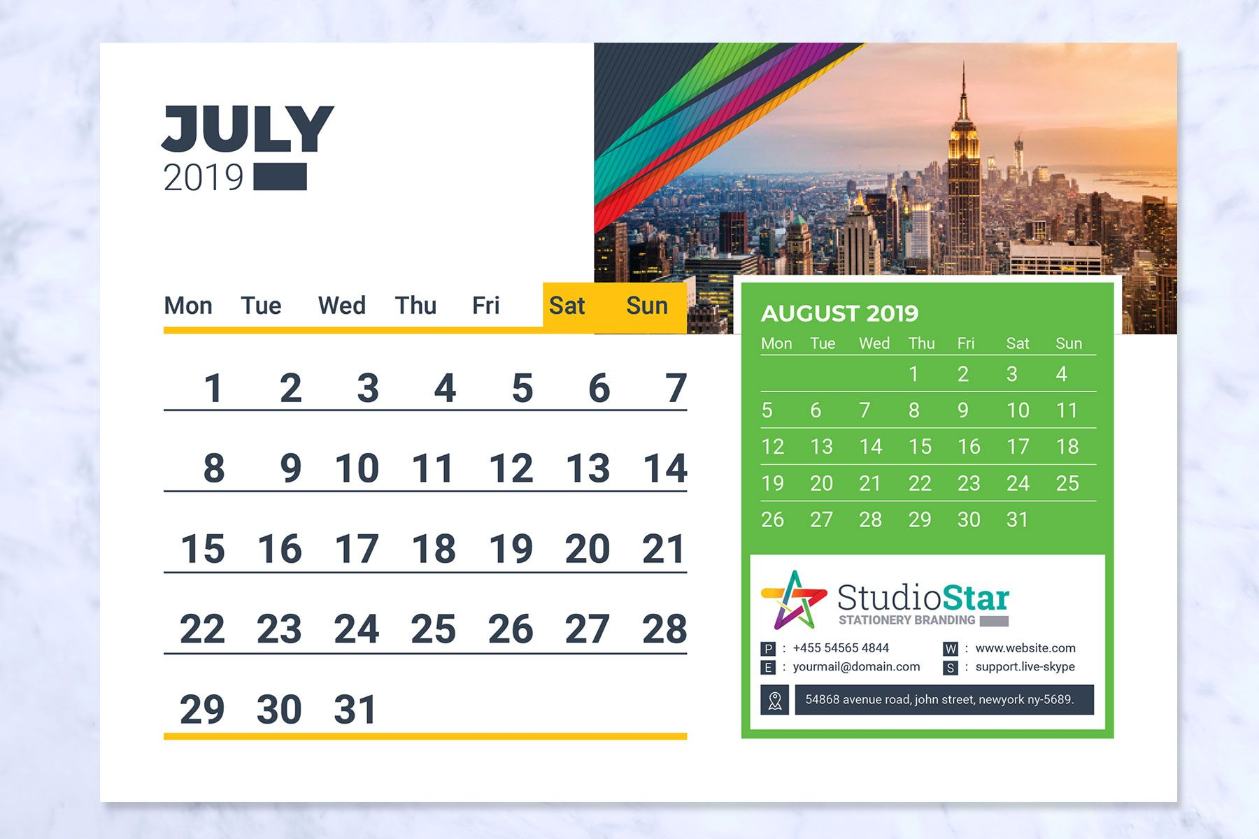 2019 Desk Table Calendar Planner Corporate Identity Template