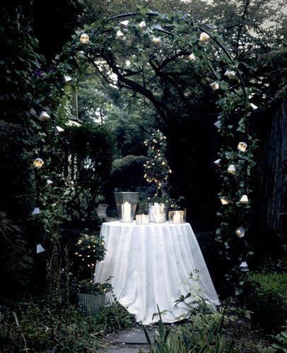 romantic dining + fluffy white linens + dark + hidden spaces + lights + garden = perfect