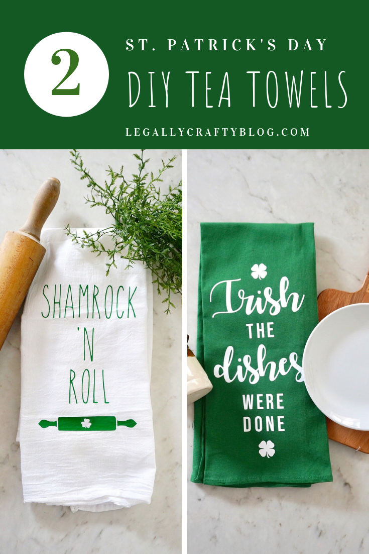 Shamrock N Roll Two Diy St Paddy S Day Flour Sack Towels Tea