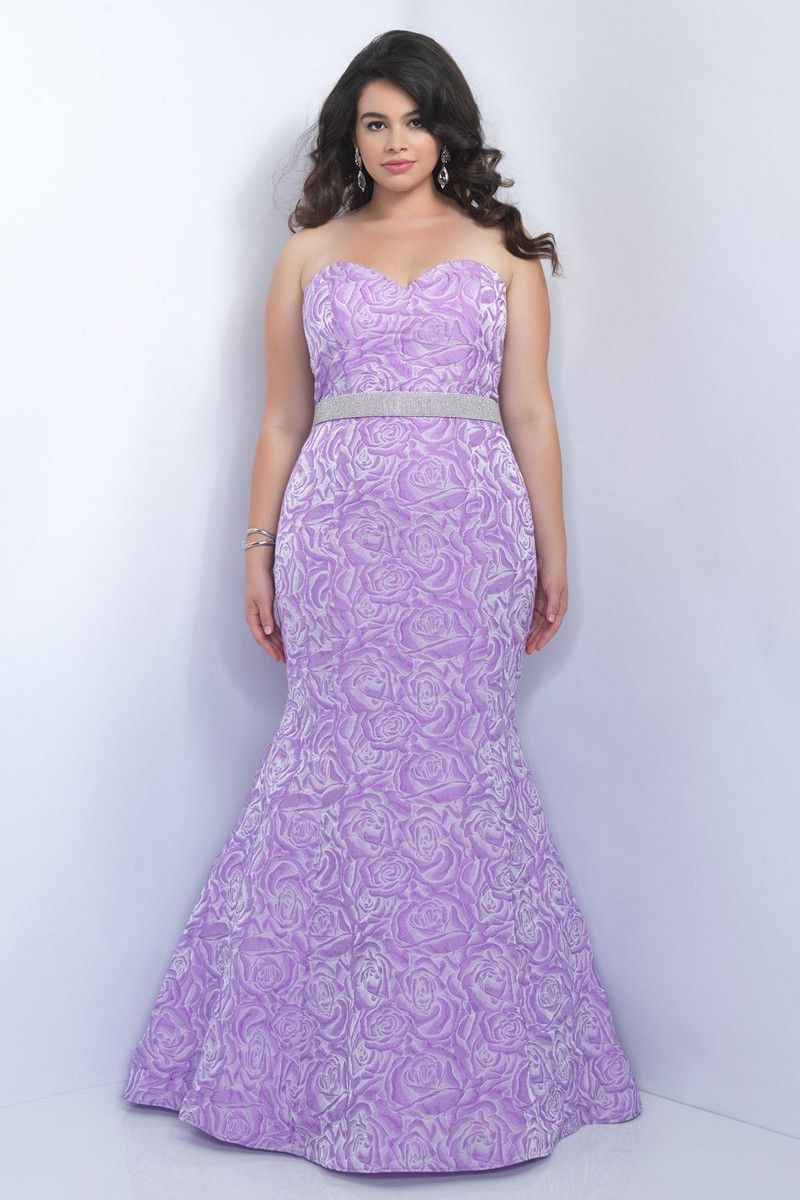 7b8c6bbf4dc Captivate attention in the Blush Plus Size 11068W full-length prom dress.  This strapless gown is styled in a romantic rosette print and creates a  soft ...