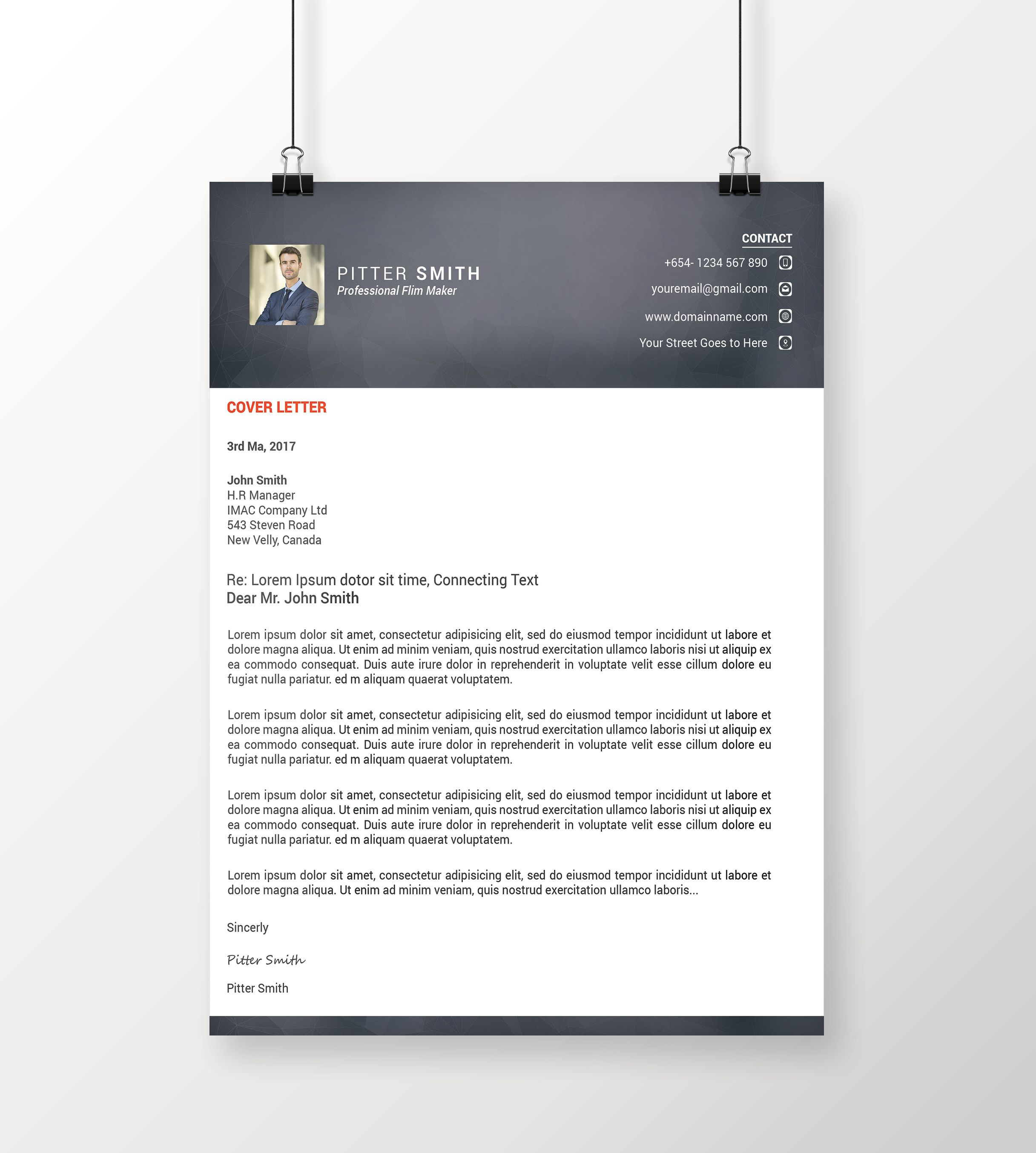 Resume Cover Letter Design A4 Clean Resume Cv Clean