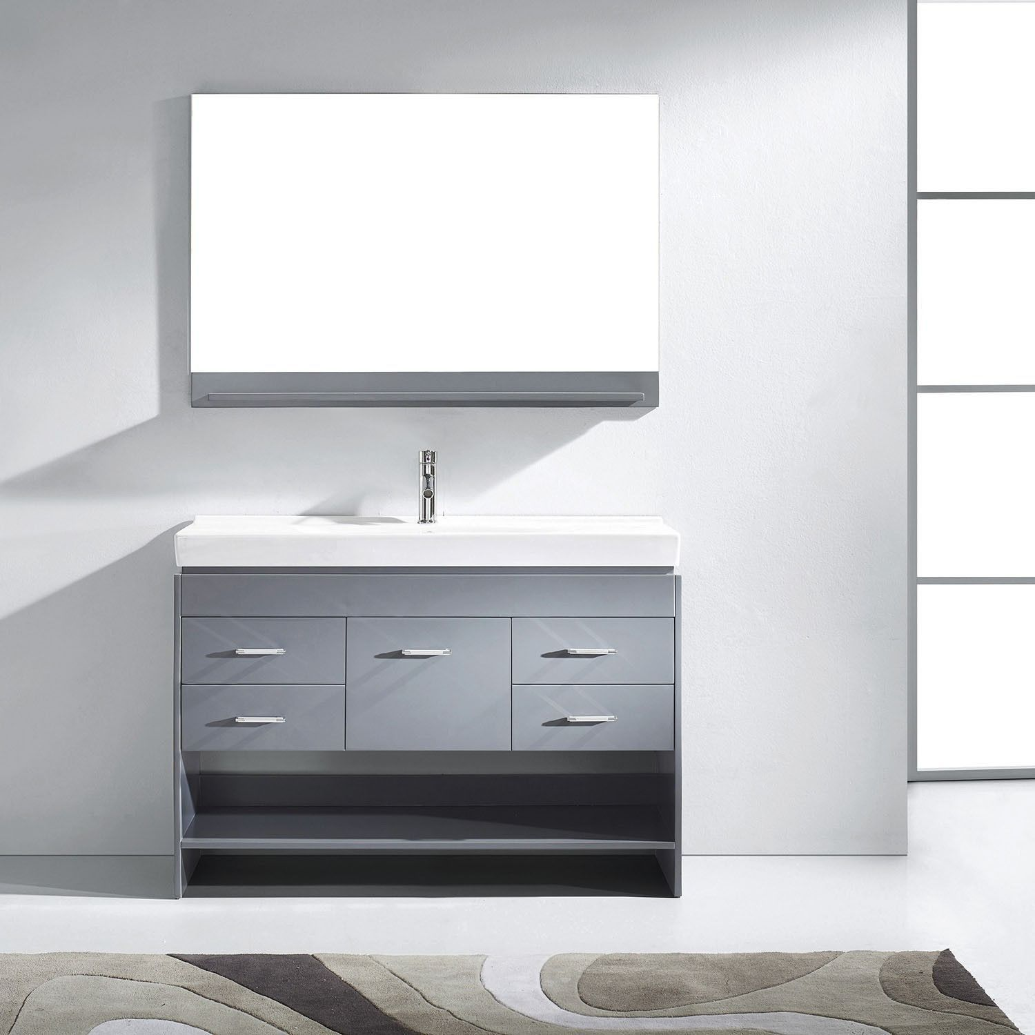Virtu Usa Gloria 48 Gray Single Sink Vanity Set With Mirror Faucet Single Bathroom Vanity Single Sink Bathroom Vanity Vanity