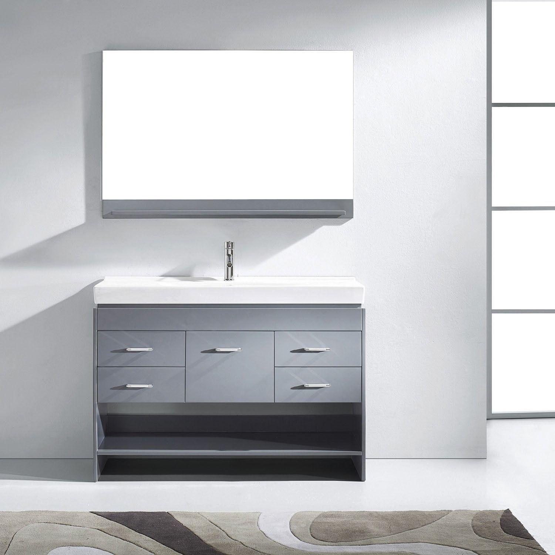 Virtu Usa Gloria 48 Gray Single Sink Vanity Set With Mirror