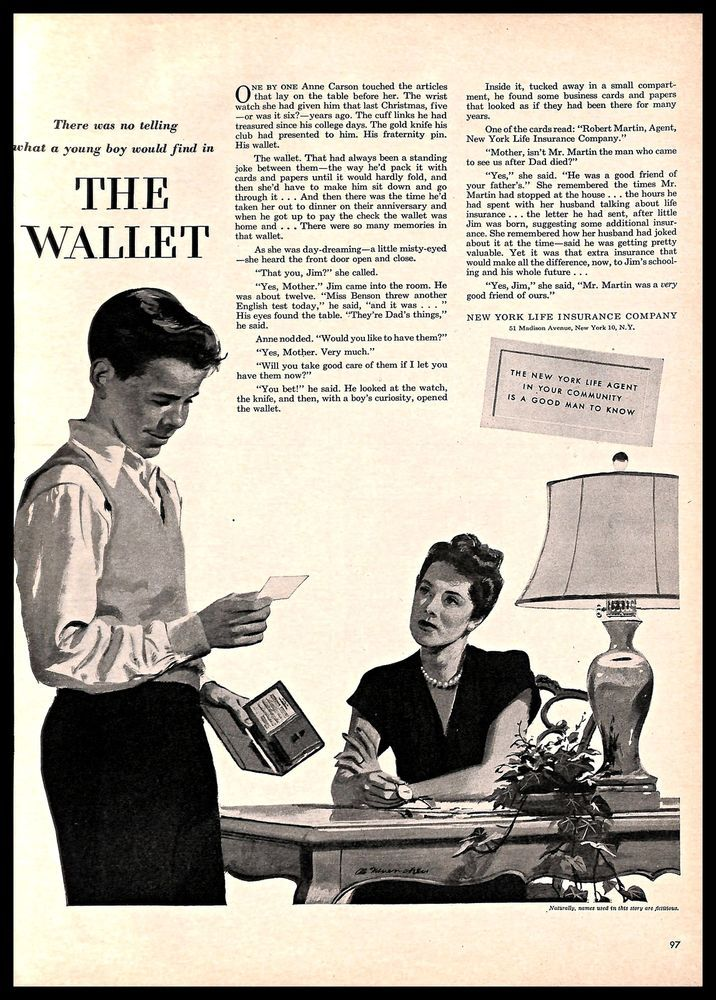 1949 NewYorkLifeInsurance Company Vintage PRINT AD
