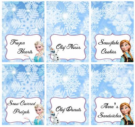 Disney Frozen Food Labels Placecards Tent Cards by LittleBugShoppe