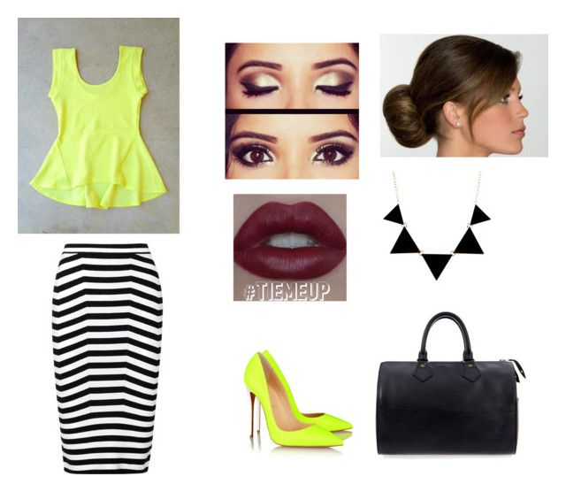 """White,Black,and Neon pt.3"" by niallerbemine ❤ liked on Polyvore featuring Alexander Wang, Christian Louboutin and Louis Vuitton"