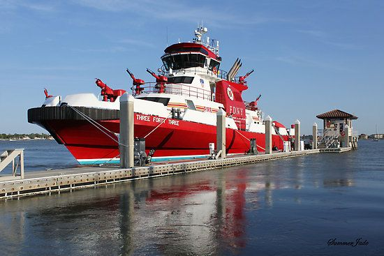 343 Fdny S New Fireboat On Route To New York Poster border=