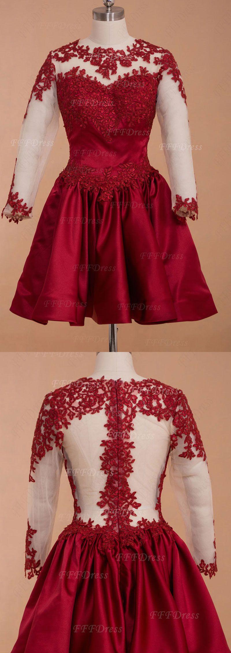 Burgundy backless short prom dresses long sleeves homecoming dresses