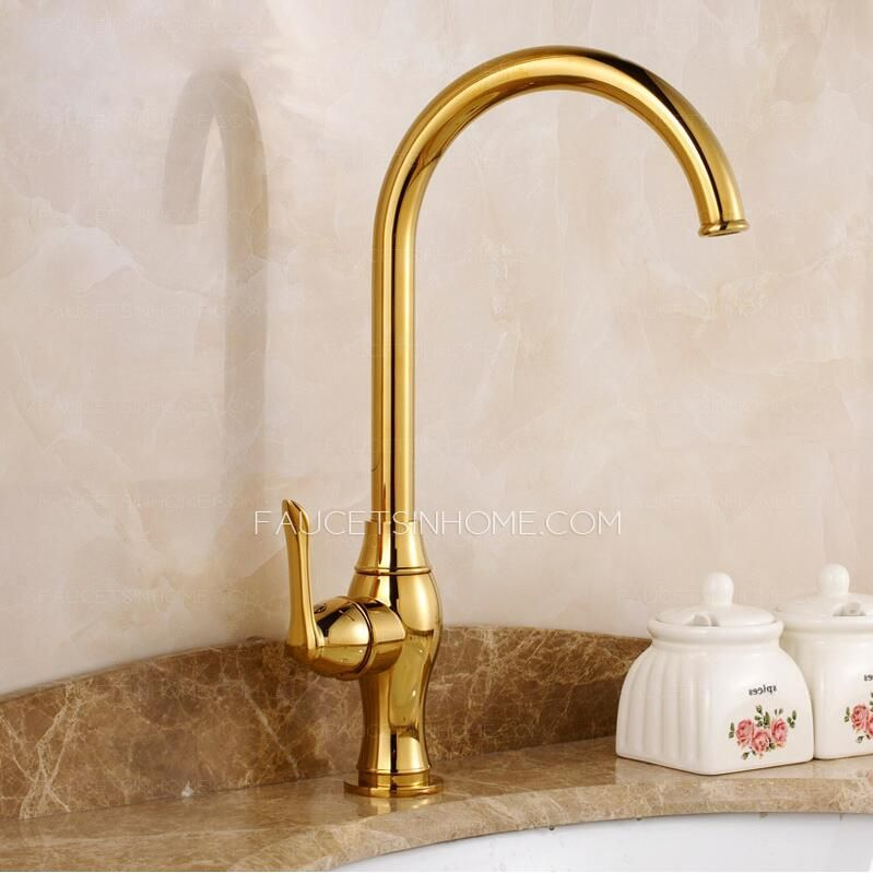 Luxury Gold Polished Brass Kitchen Faucets One Hole Kitchen