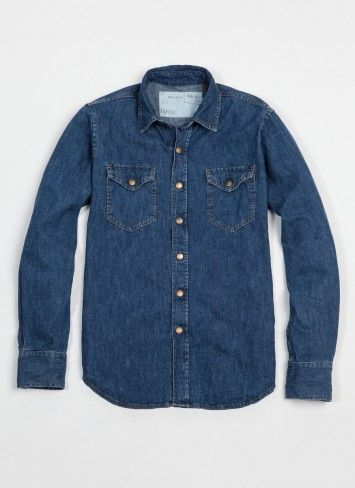You need a good denim work shirt.  To wear under a camel blazer with or without a colorful tie, maybe plaid.  Or by itself with the sleeves rolled up.  To work or for casual. This is by Billy Reid and $195.  Too much for you but a nice cut/color.