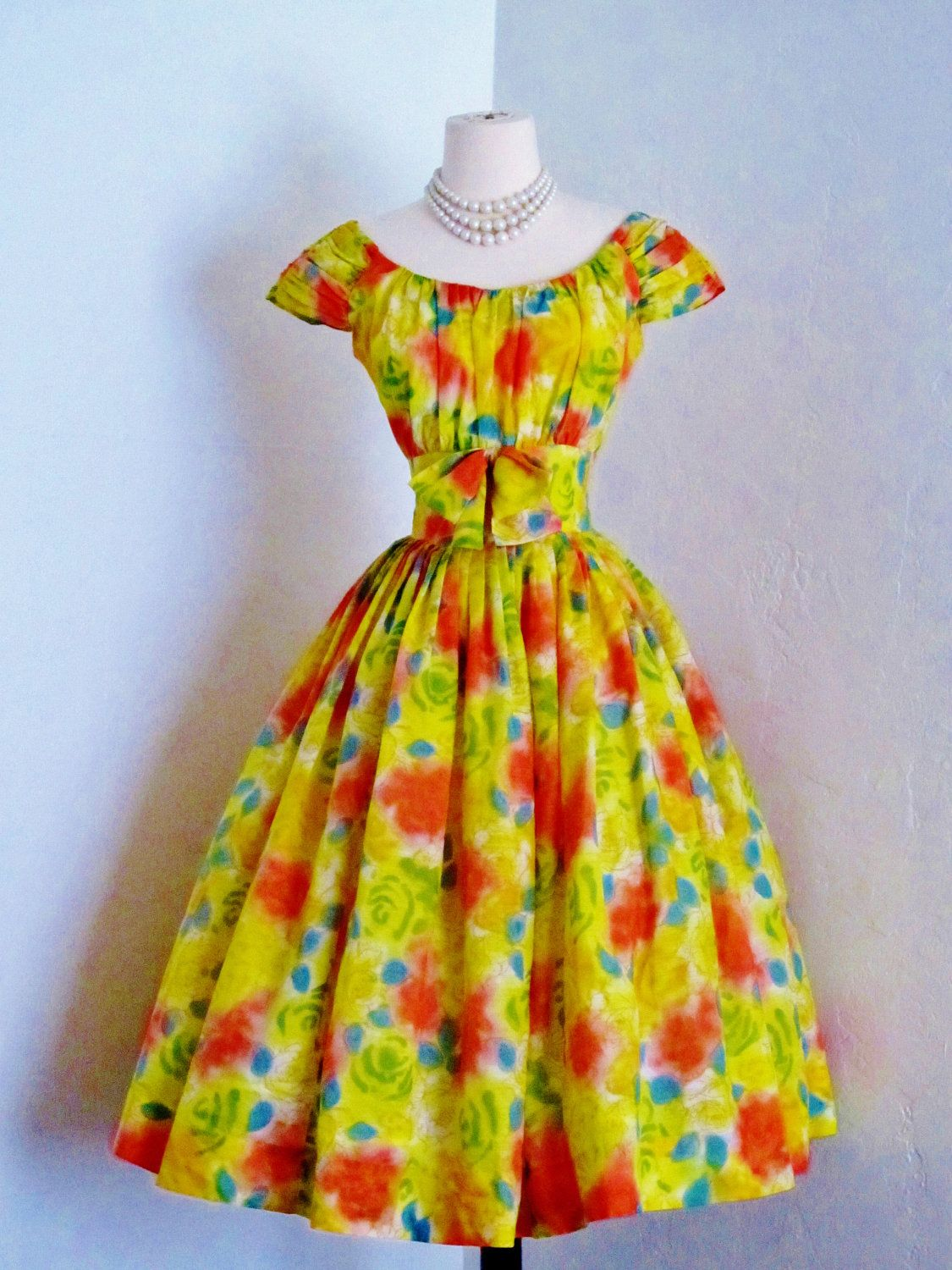 vintage 1950's Jerry Gilden bright sorbet bold floral cocktail party pin up summer dress. $240.00, via Etsy.