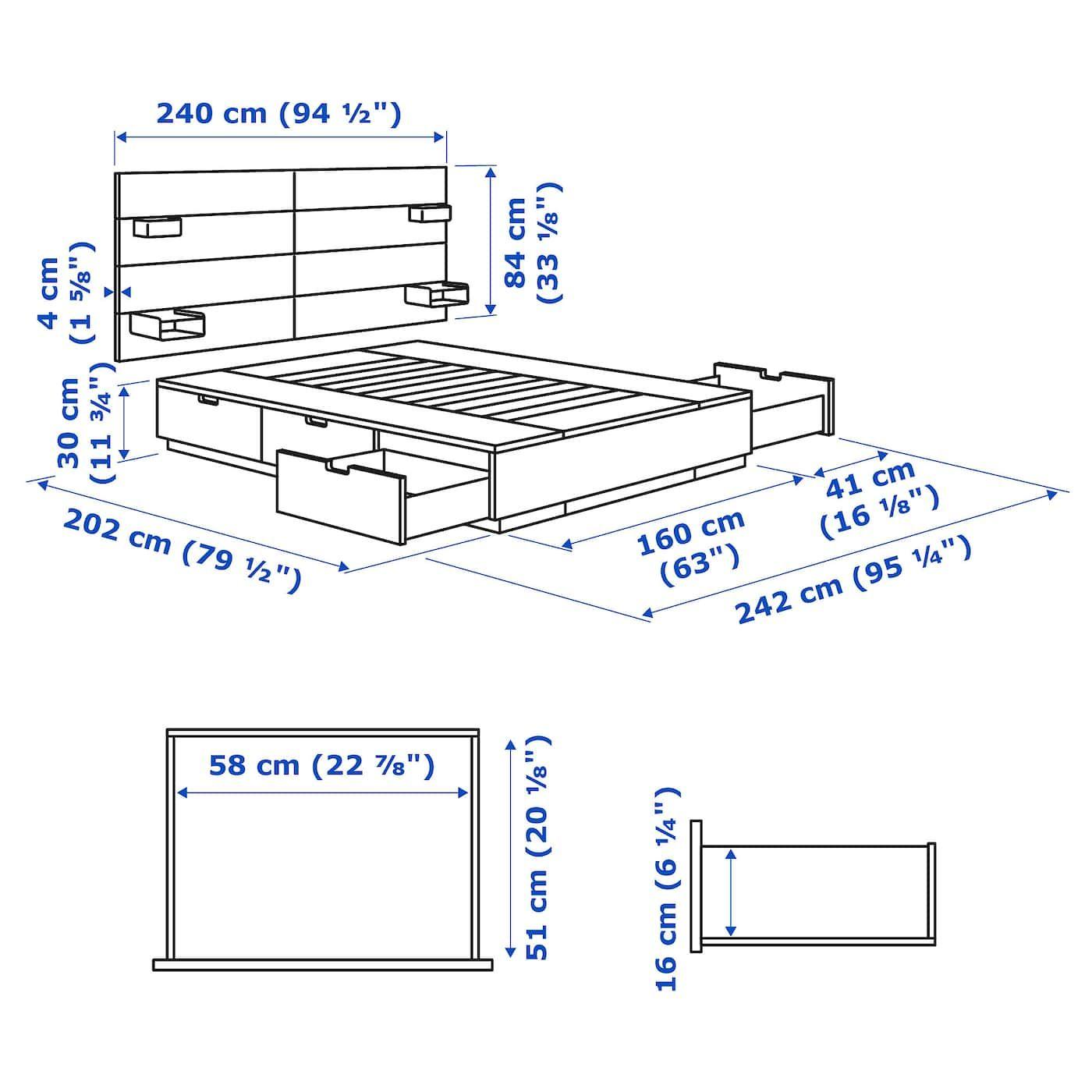 Nordli Bed With Headboard And Storage Anthracite Queen Avec Images Lit Rangement Tete De Lit Avec Rangement Tete De Lit Blanche