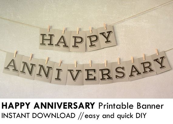 image about Happy Anniversary Banner Free Printable known as Print this simple and very simple Do-it-yourself Delighted Anniversary get together banner